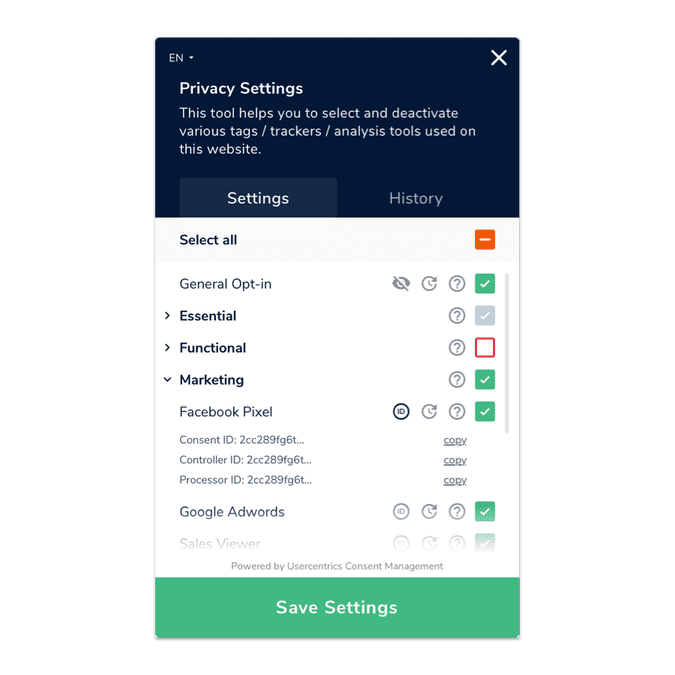 Settings CMP EN | Usercentrics